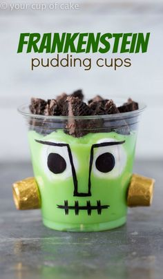Frankenstein Pudding Cups using banana pudding, Oreos and Rolos!  So cute and perfect for the kids! Easy for Halloween parties