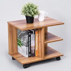 Green Forest Modern Bedside End Table Nightstand Printer Stand with Storage Shelf and Lockable Wheel for Bedroom Walnut Green Forest Modern Bedside End Table Nightstand Printer Stand with Storage Shelf and Lockable Wheel for Bedroom Walnut Home Decor Furniture, Wood Furniture, Diy Home Decor, Bedroom Furniture, Wood Storage Shelves, Open Shelves, Diy Storage, Industrial Style Desk, Industrial Living