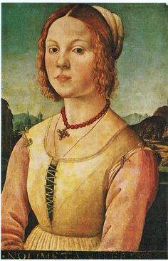 1400s Vittore Carpaccio (Italian painter, c 1465–1526) Portrait of a Young Woman    The young woman wears a pearl and gemset cross dependent from a string of red coral (?) beads