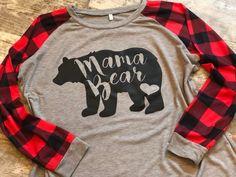 7d2761d96 Mama Bear with Heart Design on Ladies' Buffalo Plaid Raglan Sleeve T-Shirt,  Light Grey and Dark Grey Available. Red, Blue, Teal, Jade, Tan