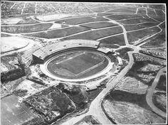 Morumbi stadium under construction in the then far away Morumbi neighborhood