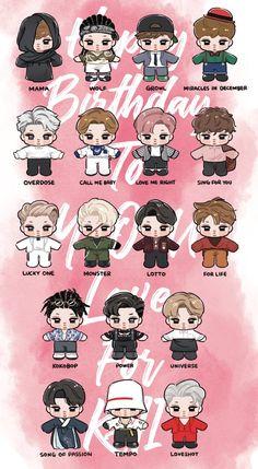 Kai <credits to owner> Kpop Exo, Exo Cartoon, Cartoon Art, Exo Stickers, Exo Anime, Exo 12, Exo Album, Exo Fan Art, Exo Lockscreen