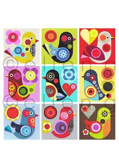 Ellen Giggenbachbirds Bird Graphic, Graphic Design Print, Scandinavian Folk Art, Bird Applique, Indian Folk Art, Painting For Kids, Art For Kids, Sampler Quilts, Painted Paper