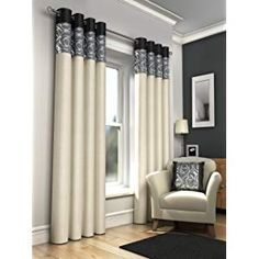"""ONE PAIR OF FAUX SILK FULLY LINED EYELET CURTAINS 66"""" X 90"""" APPROX. FOIL PRINT CREAM WITH BLACK GREY AND SILVER"""