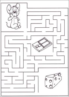 Mazes For Kids Printable, Printable Preschool Worksheets, Preschool Learning Activities, Worksheets For Kids, Maze Worksheet, Material Didático, Math For Kids, Coloring Pages, Visual Perceptual Activities
