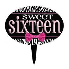 Zebra Print Sweet 16 Cake Pick