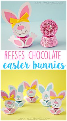 Reeses Peanut Butter Cup Easter Bunnies - Cute little treats to make for gifts with your kids!