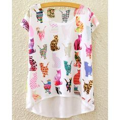 Stylish Round Neck Short Sleeve Cats Print High Low T-Shirt For Women (WHITE,ONE SIZE(FIT SIZE XS TO M)) in Tees & T-Shirts | DressLily.com