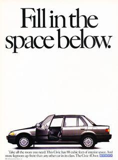 1988 Honda Civic - sedan space - Classic Vintage Advertisement
