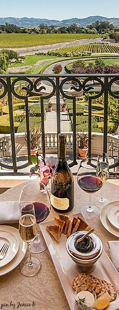 The gorgeous terrace view at Domaine Carneros in Napa Valley | Haute in Napa