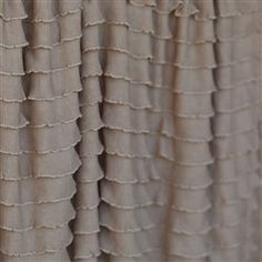 Ruffled Curtain Panel, Toffee Light Brown, 84 inches Long by 44 Inches Wide