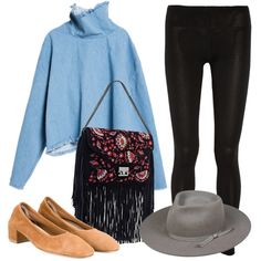 Look cool in your leggings by pairing them with a trendy denim turtleneck and of-the-moment accessories. Perfect for running around on the weekends.