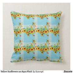 Yellow Sunflowers on Aqua Plaid Throw Pillow Plaid Throw Pillows, Floral Pillows, Yellow Sunflower, Love Flowers, Free Sewing, Custom Pillows, Sunflowers, Aqua, Make It Yourself