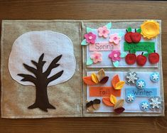 : This article is not available 4 Seasons Felt Book Pages: This is a set of two quiet book pages. The first page is a tree that c article avail : This article is not available 4 Seasons Felt Book Pages: This is a set of two quiet book pages. Diy Quiet Books, Baby Quiet Book, Felt Quiet Books, Toddler Quiet Books, Preschool Learning Activities, Book Activities, Preschool Activities, Preschool Seasons, Children Activities