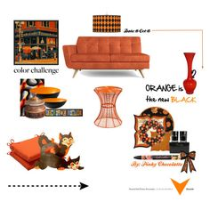 #150 Color Challange: Orange and Black by pinky-chocolatte on Polyvore featuring polyvore interior interiors interior design home home decor interior decorating Joybird Furniture Southern Enterprises nuLOOM Safavieh Pillow Perfect Normann Copenhagen Universal Lighting and Decor D.L. & Co.