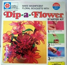WHITING CRAFTS: 1971 Dip-A-Flower Starter Kit. Oh my goodness, I have been trying to remember what this was called for years. I loved making these when I was a kid! 1960s Toys, Retro Toys, Vintage Toys 1970s, Vintage Stuff, Aprons Vintage, Vintage Crafts, My Childhood Memories, Sweet Memories, 90s Childhood