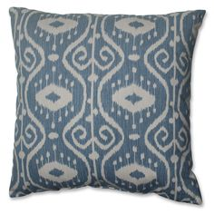 Add the perfect blend of style and comfort to any space in your home with this 18-inch blue and off-white ikat throw pillow from Pillow Perfect. Knife edging adds the finishing touch to this wonderful decorative pillow.