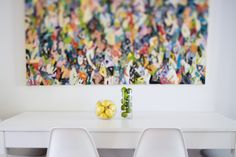 Bring some colour into the white dining space and dress it up with some lemon and limes | 24 Samuel Street, Surry Hills