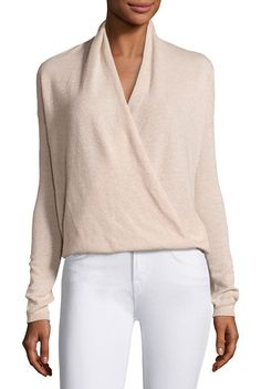 "Lien cashmere surplice sweater by Joie. Joie ""Lien"" soft knit sweater. Surplice neckline. Long sleeves; ribbed cuffs. Drapey silhouette. Pullover style. Cash..."