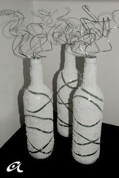 Andrea Arch: DIY: Sparkly painted wine bottles