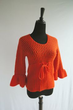 1970's Vintage Orange & Brown Bell Sleeve Sweater Top - $18