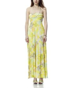 Take a look at this Pale Yellow Strapless Maxi Dress by Classique on #zulily today!