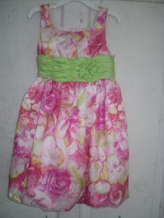 GIRLS BONNIE JEAN SUMMER DRESS - SIZE 5 PINK FLORAL  WEDDING PARTY? #BONNIEJEAN #DressyWedding
