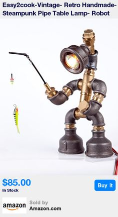 FISHERMAN ROBOT from our new Handmade Hobby Lighting Collection * Size: 12x6x6 inches. Material: ½-inch new black iron and brass pipes. All parts and wire are brand new * A perfect lamp for bedroom, living room, for an office desk and a nightstand/bedside table. It looks great next to a sofa or couch , in the kitchen, in the workshop and basically in any other creative space. But remember: your imagination is your only limit * Voltage: 110-220 V. Plug: Type C with EU to US standard adapter 2…