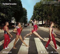 U.S. Olympic trials: Gymnasts take Abbey Road to London;  image of hopefuls John Orozco, Gabrielle Douglas, Jordyn Wieber, and two-time Olympic medalist Jonathan Horton on their (Abbey) Road to London