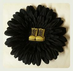 Combat Boots Black Daisy Hair Flower $5.95 http://www.mypinupcreations.com/hair-flowers.html