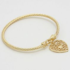 Classic Cable Bracelet with Golden Filigree Heart