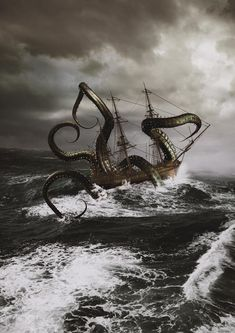 Kraken by sayedtoa Kraken, Cthulhu, Clouds, Deviantart, Sea, Celestial, Outdoor, Characters, Outdoors