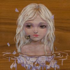 Thirsty  by Helice Wen #bee #girl #painting