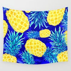 Pineapple Love Wall Tapestry by mukta_lata_barua Tapestry Wallpaper, Dorm Tapestry, Blue Tapestry, Tapestry Bedroom, Love Wall, Bathroom Organisation, Plant Holders, Decoration, Pineapple