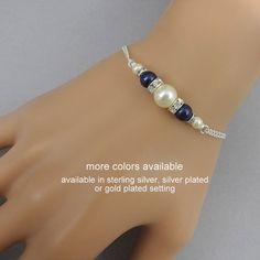 Navy Pearl Bracelet, Navy Bridesmaid Bracelet, Swarovski Night Blue Pearl Bridal Bracelet, Bridesmaid Gift, Mother of the Groom Gift