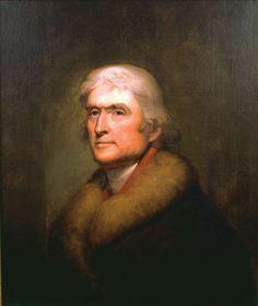Thomas Jefferson Foundation at Monticello. A James L. Dick copy of Rembrandt Peale's famous portrait of Jefferson.
