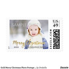 Gold Merry Christmas Photo Postage Stamps