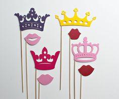 Linda princesa y coronas Photo Booth Props - ocho princesa y apoyos de Photobooth fiesta de cumpleaños