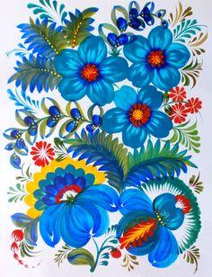 Моя работа, петриковская роспись, яичная темпера, бумага.