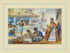 Escravos domésticos no Brasil em 1820, por Jean-Baptiste Debret  Naquela época, havia uma gradação no comércio que começava, embaixo, com os muitos escravos que vendiam comida ou bugigangas pela rua, entregando todo o faturamento do dia a seus patrões.  Depois vinham os negros livres com seus tabuleiros e os mascates mulatos ou brancos, que faziam quase a mesma coisa mas trabalhavam por conta própria.