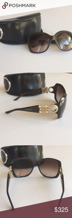 4a9306abfe82 Bvlgari Sunglasses and case Authentic Bvlgari sunglasses. Crystal open  design sides. Espresso frames.