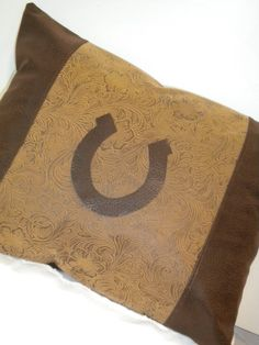 Saddle Brown Tooled Horseshoe Western Pillow by BurtonLeatherCo, $20.00