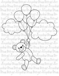 ours & ballons Quilting Templates, Applique Templates, Applique Patterns, Applique Designs, Cute Flower Drawing, Motifs D'appliques, Felt Animal Patterns, Baby Applique, Quilt Labels