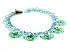 Necklace-Mint Bohemian Beaded Crochet Carnation by PinaraDesign