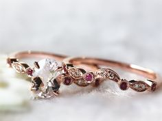 Discount! Antique Ring Set 14kt  Rose Gold 6x8mm Natural Pink Morganite Engagement Ring and Half Bezel Ruby Diamond Band Wedding Set