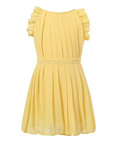 Yellow Pleated Angel-Sleeve Dress - Toddler & Girls