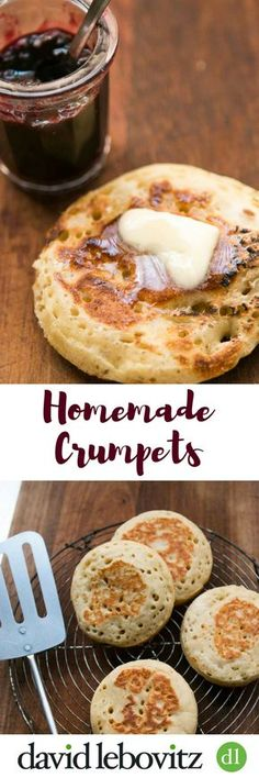 Make your own crumpets at home! These skillet-baked breads are terrific for breakfast or tea time served with lots of butter, and berry jam or marmalade.