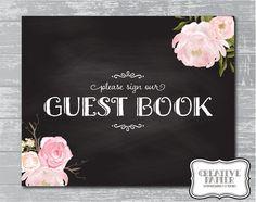 Peony Flower Chalkboard Guestbook Sign 8x107 DIY by CreativePapier, $7.00