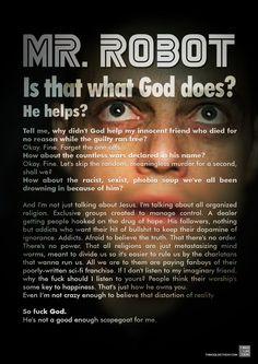 #SERIETV #MRROBOT #QUOTE Mr. Robot seconda stagione. Non so perchè ho aspettato tutto questo tempo per guardare la seconda stagione di Mr.Robot ma di sicuro i primi tre episodi non deludono le attese!! See also > https://it.pinterest.com/pin/13933080074516491/