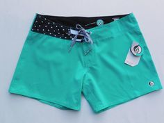 Volcom Pure FUNction Spinner 5 Junior Womens Board Shorts Swim Beach 9 Teal NEW #Volcom #BoardShorts